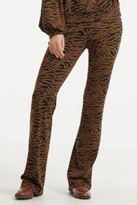 Modström straight fit broek Ming met zebraprint bruin/zwart, Bruin/zwart