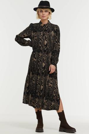 jurk Mae met all over print zwart/ beige