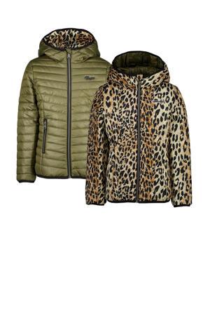 reversible imitatiebont winterjas Tajra met panterprint bruin/groen/zwart