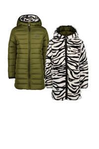 Vingino reversible imitatiebont winterjas Tara met zebraprint legergroen, Legergroen