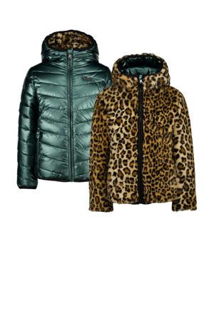 reversible imitatiebont winterjas Tirze met panterprint bruin/groen