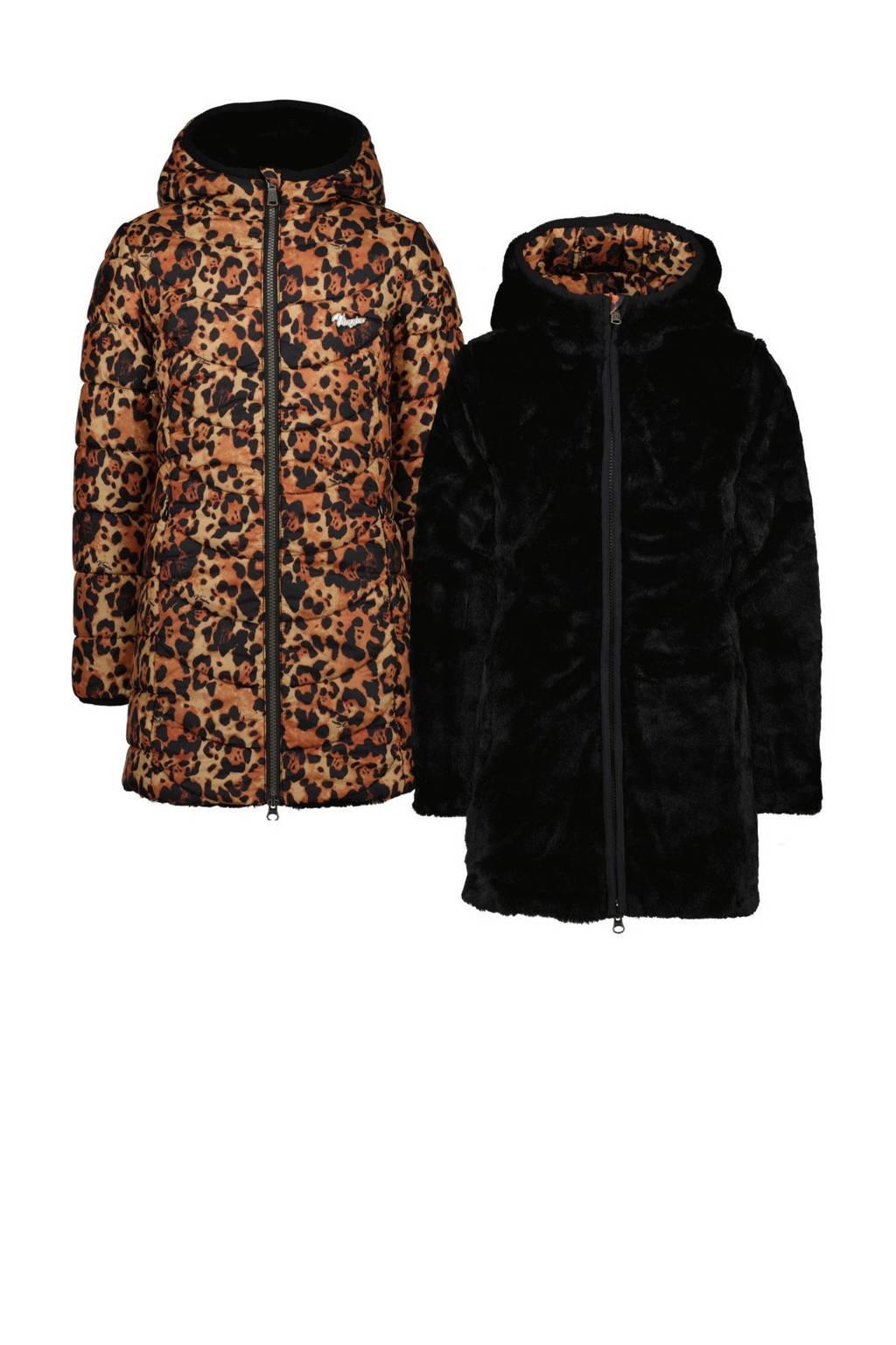 Vingino reversible imitatiebont winterjas Telieka met all over print zwart/geel, Zwart/geel