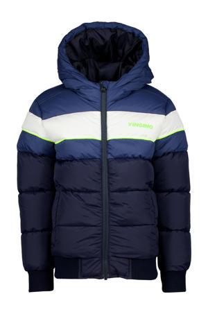 winterjas Tonius donkerblauw/wit/blauw