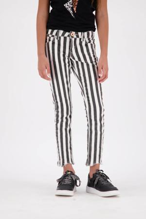 gestreepte skinny broek Sacha zwart/wit