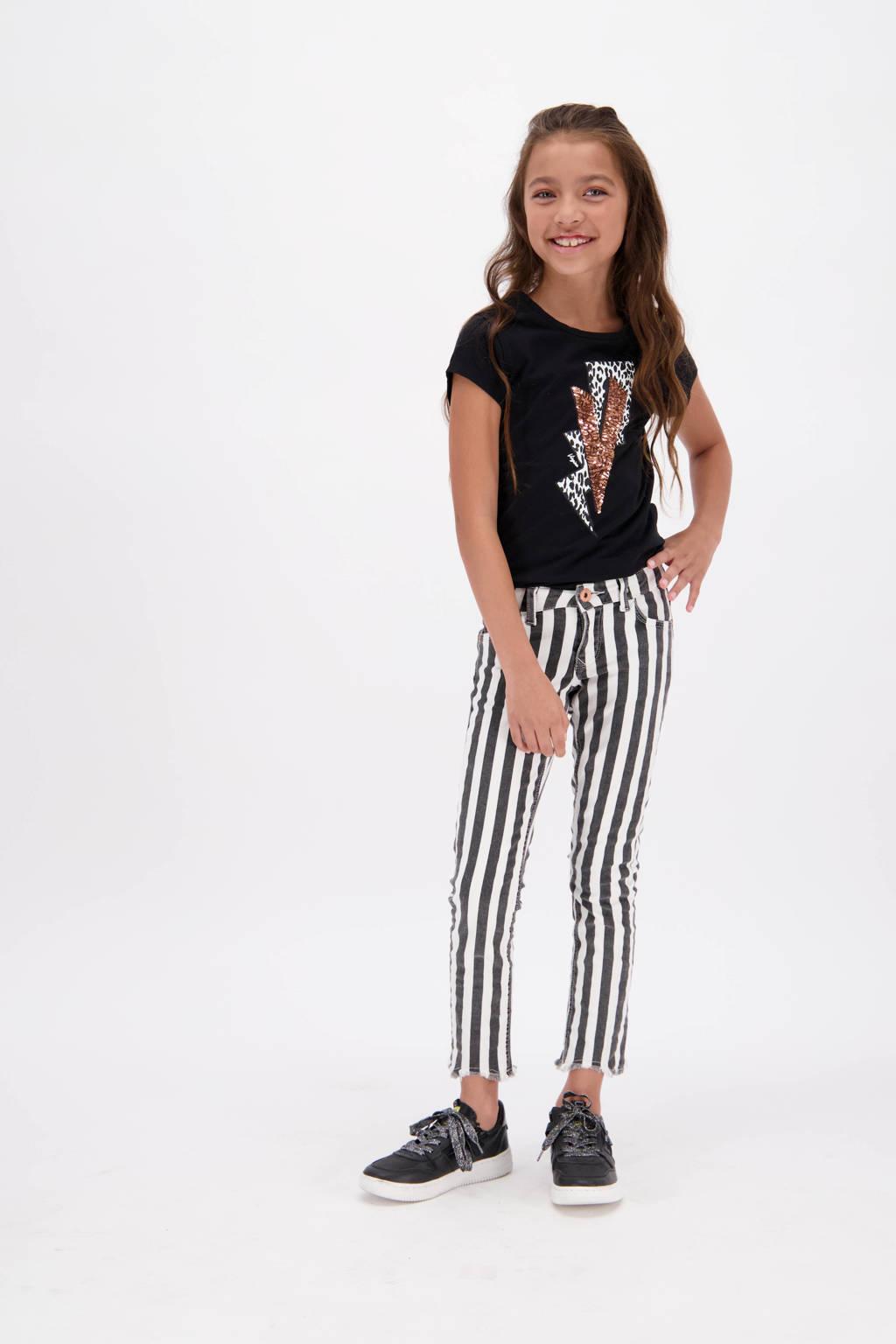 Vingino gestreepte skinny broek Sacha zwart/wit, Zwart/wit