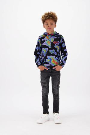sweater Nuet met all over print zwart/paars/groen