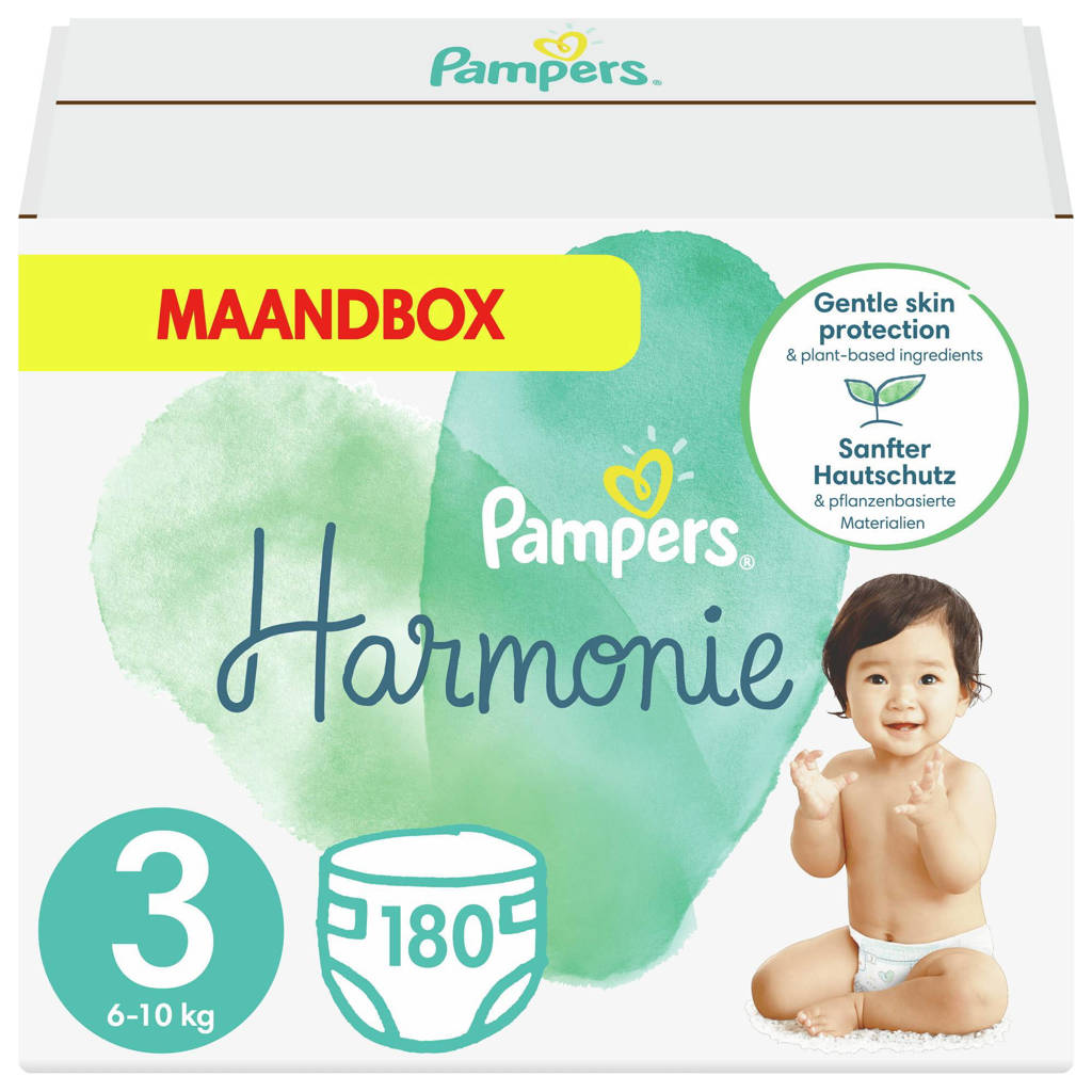 Pampers Harmonie maandbox maat 3 (6kg-10kg) - 180 Luiers, 3 (6-10 kg)