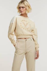 JOSH V sweater Indiana met printopdruk en borduursels ecru/geel, Ecru/geel