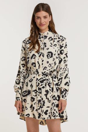 jurk Isla met all over print en plooien ecru/zwart