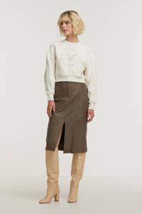 JOSH V sweater Indiana met printopdruk en borduursels wit, Wit
