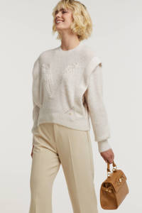 JOSH V gebreide trui Lane met wol en printopdruk wit, Wit