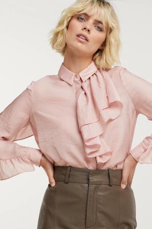 geweven blouse Archer met ruches lichtroze