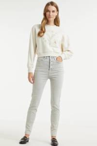 JOSH V high waist skinny jeans Nadine met studs mouse grey