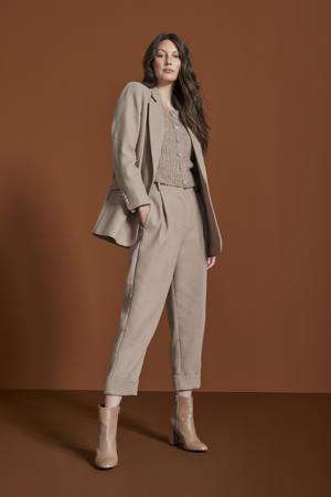cropped high waist straight fit pantalon Quinn beige