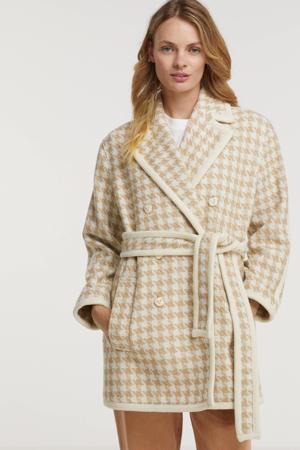 coat Fenna met contrastbies en ceintuur wit/ zand