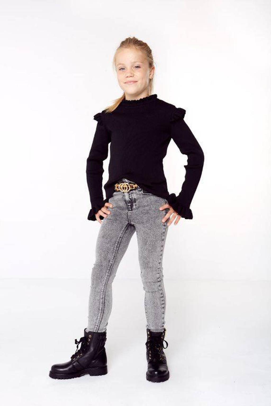 KIDS ONLY ribgebreide trui KONSALLY met ruches zwart, Zwart