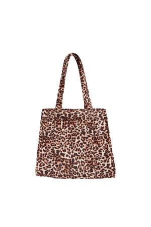 shopper OBJFIOLA met luipaardprint bruin