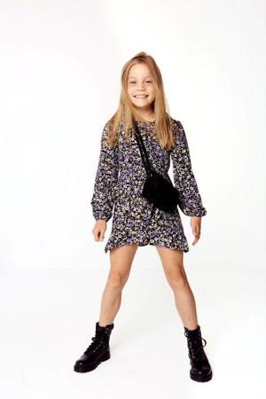 jurk KONSELMA met all over print en volant zwart/paars/groen