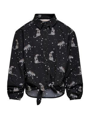 blouse KONRIKKE met dierenprint zwart/wit