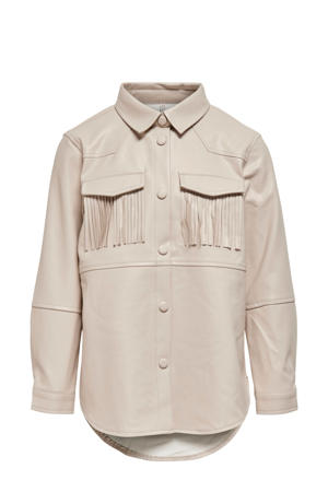 imitatieleren blouse KONNANNA met franjes beige