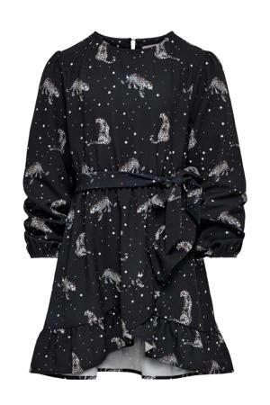 jurk KONRIKKE met dierenprint en volant zwart/wit