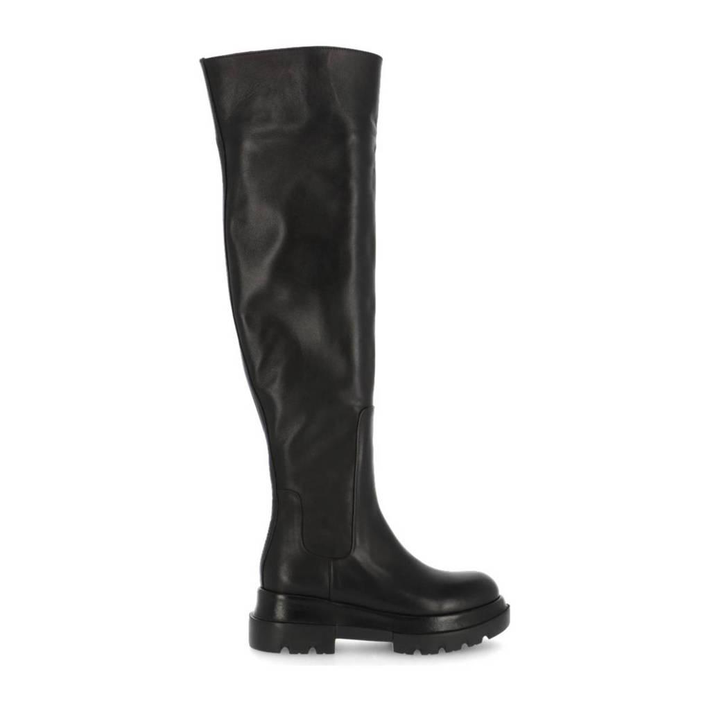 Shabbies Amsterdam Miki  leren overknee laarzen zwart, Zwart