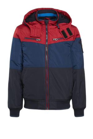 winterjas donkerblauw/blauw/rood