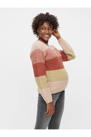 gestreepte zwangerschapstrui PCMENA van gerecycled polyester rood