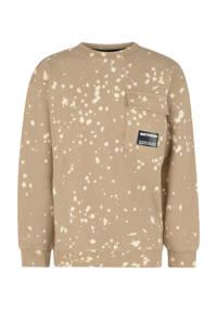 Shoeby Jill & Mitch sweater Darrin met all over print zand/ecru, Zand/ecru