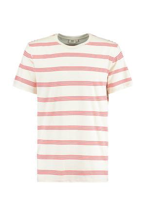 gestreept T-shirt Elrow ecru/rood