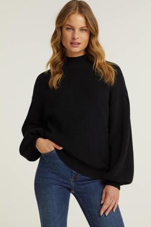 trui met ballonmouwen zwart