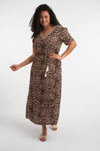 MS Mode maxi jurk met dierenprint en ceintuur bruin, Bruin