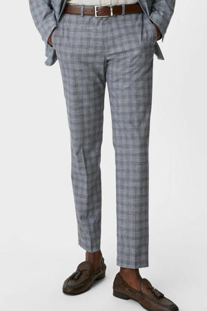 geruite slim fit pantalon grijs/blauw