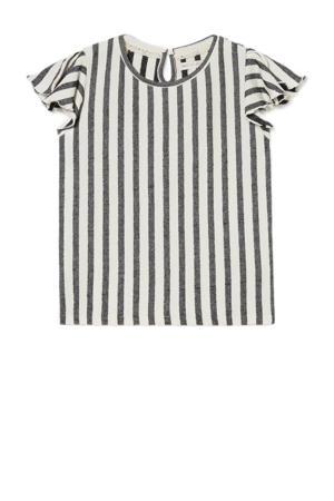 gestreept T-shirt ecru/antraciet