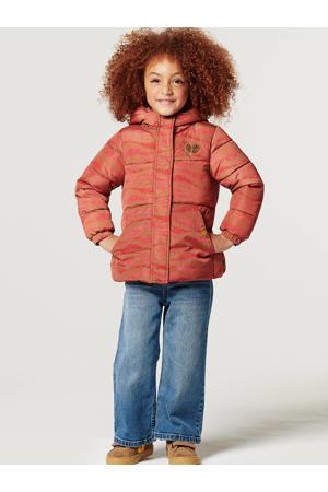 gewatteerde winterjas Bursa met all over print rood/oranje