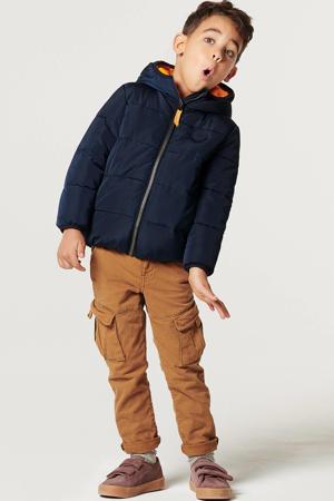 gewatteerde winterjas Burao donkerblauw/oranje