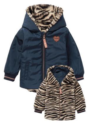 baby reversible imitatiebont/teddy winterjas Abilene met dierenprint donkerblauw/zwart/bruin
