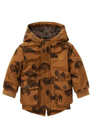 baby  winterjas Rakovic met camouflageprint bruin