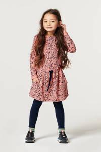 Noppies jurk Bongao met all over print roze/antraciet, Roze/antraciet