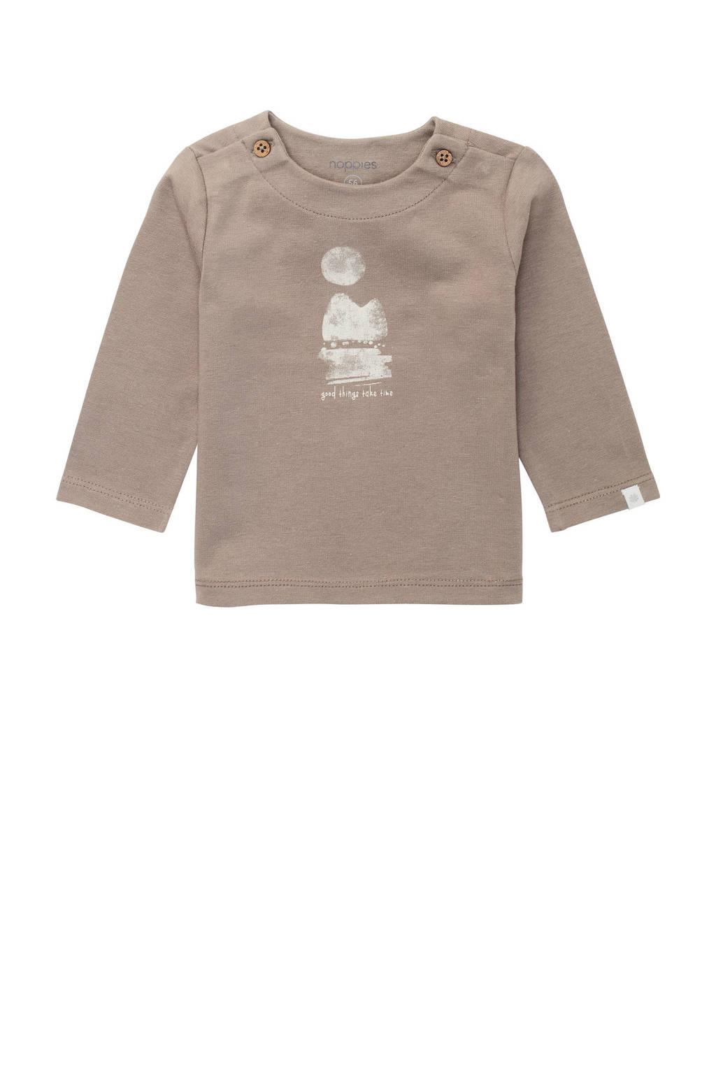 Noppies baby longsleeve Ribera met printopdruk bruin, Bruin