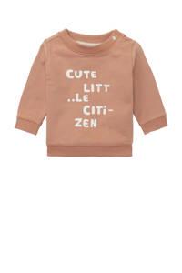 Noppies baby sweater Roccaraso met tekst beige, Beige