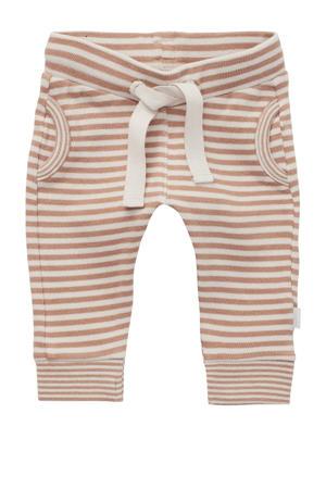 baby gestreepte regular fit broek Roye zand/wit