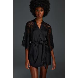satijnlook kimono met kant zwart