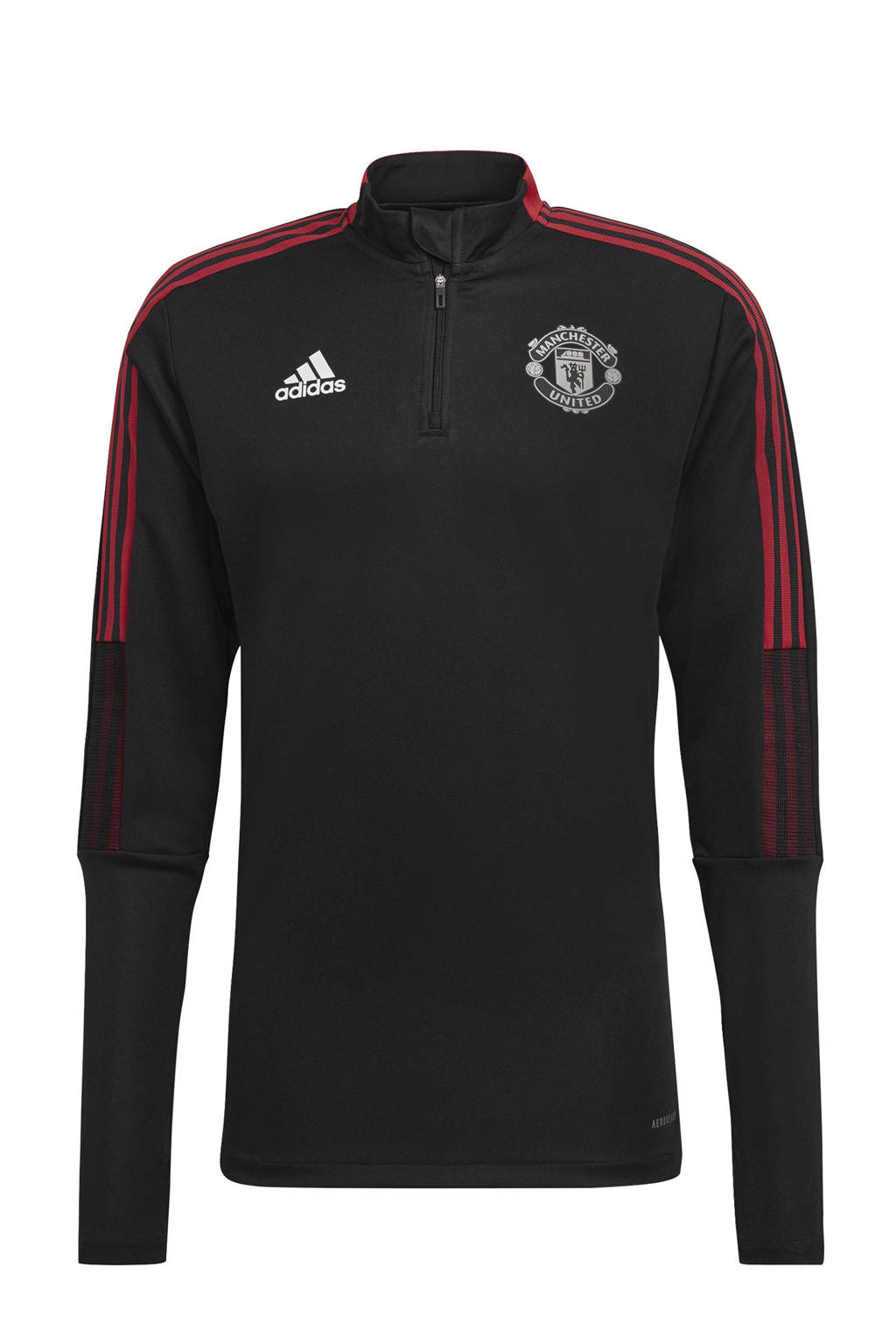 adidas Performance Senior Manchester United voetbalsweater training zwart/rood, Zwart