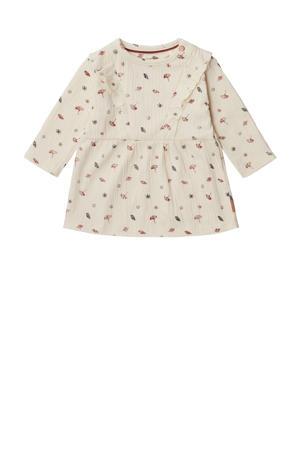 baby jurk Salida met all over print en ruches ecru/zwart/rood