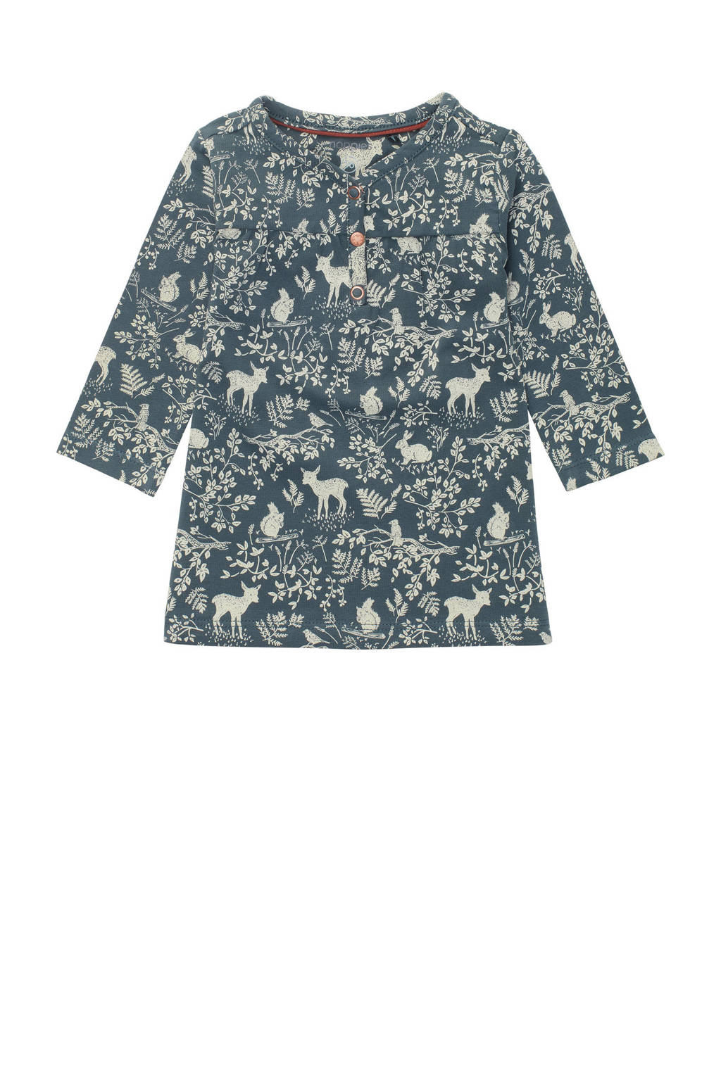 Noppies baby jurk Salisbury met all over print donkergroen, Donkergroen