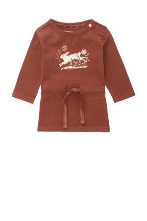 baby jurk Safford met dierenprint roestbruin