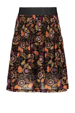 gebloemde semi-transparante rok zwart/bruin/oranje