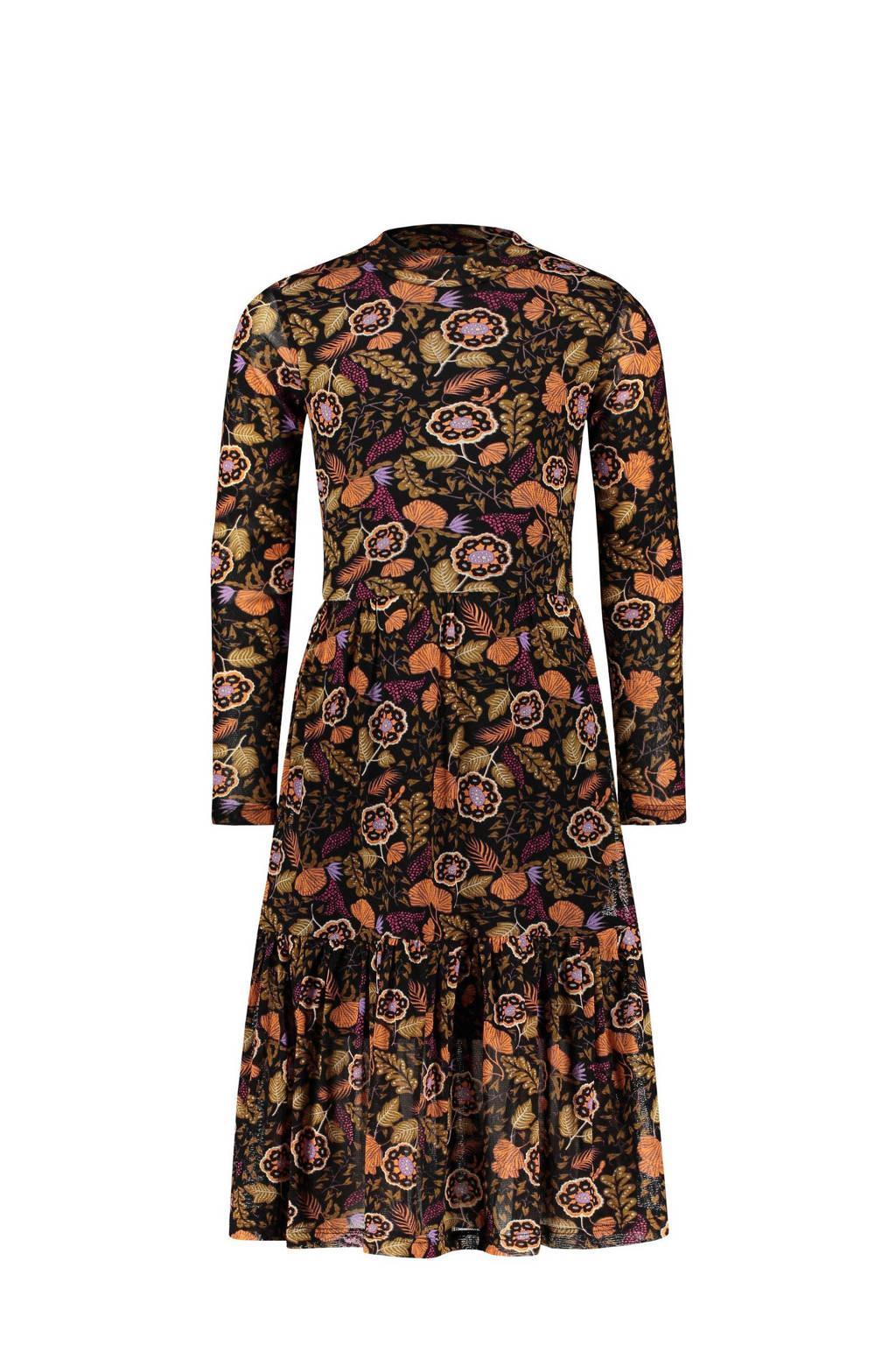 Street called Madison gebloemde jurk zwart/bruin/oranje, Zwart/bruin/oranje