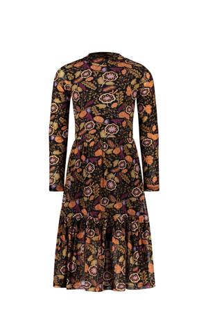 gebloemde jurk zwart/bruin/oranje